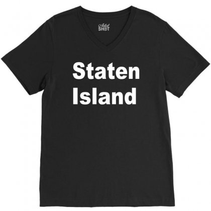 Staten Island V-neck Tee Designed By Mdk Art
