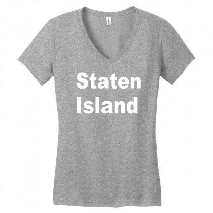 Staten Island Women's V-neck T-shirt Designed By Mdk Art