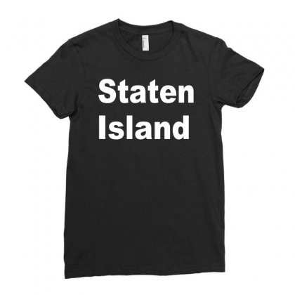 Staten Island Ladies Fitted T-shirt Designed By Mdk Art