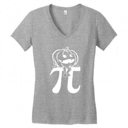 Halloween Pumpkinpi Women's V-neck T-shirt Designed By Mdk Art