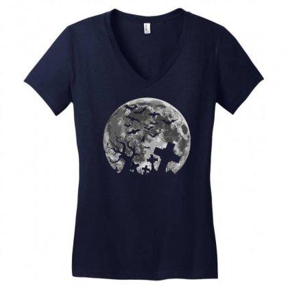 Halloween Women's V-neck T-shirt Designed By Mdk Art