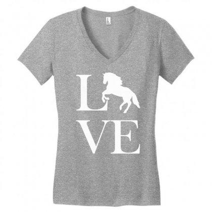 Horse Love Women's V-neck T-shirt Designed By Mdk Art