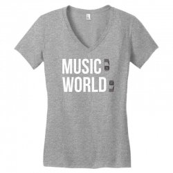 music on world off Women's V-Neck T-Shirt   Artistshot
