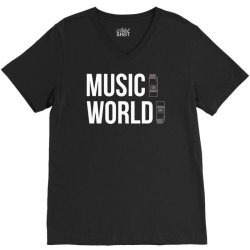 music on world off V-Neck Tee | Artistshot