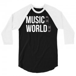 music on world off 3/4 Sleeve Shirt | Artistshot