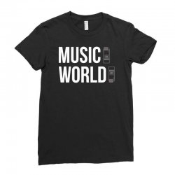 music on world off Ladies Fitted T-Shirt | Artistshot
