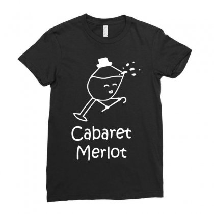 Cabaret Merlot Ladies Fitted T-shirt Designed By Mdk Art