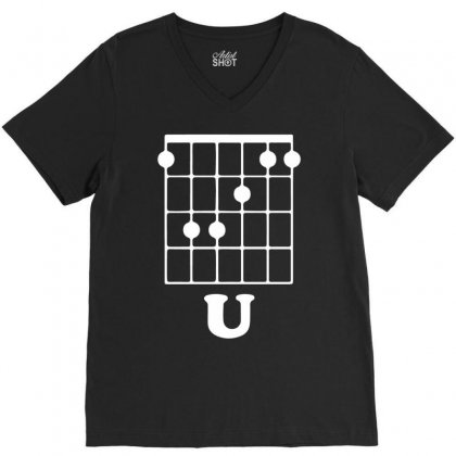 Guitar Shirts F Chord V-neck Tee Designed By Mdk Art