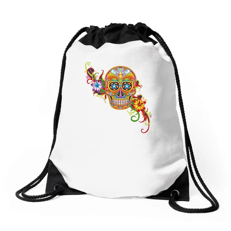 Custom Women s Sugar Skull Purple Drawstring Bags By Mdk Art ... 5d8ae74c83