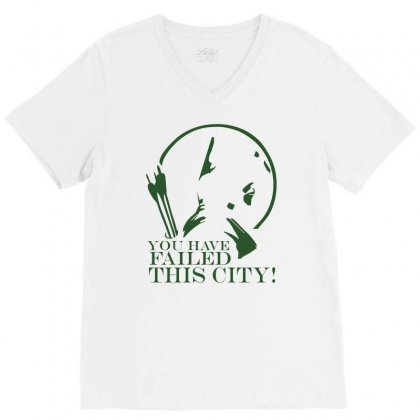 Arrow You Have Failed This City Tv Series Quote Black White Cotton T S V-neck Tee Designed By Mdk Art