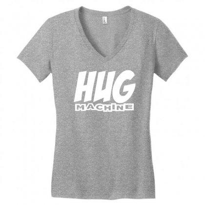Hug Machine Funny Joke Women's V-neck T-shirt Designed By Mdk Art
