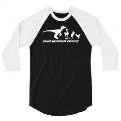 evolution sucks funny darwin theory retro dinosaur birds comic 3/4 Sleeve Shirt | Artistshot