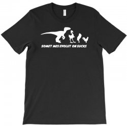 evolution sucks funny darwin theory retro dinosaur birds comic T-Shirt | Artistshot