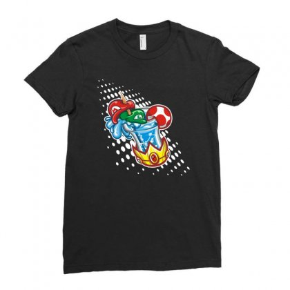Mario Bros Ladies Fitted T-shirt Designed By Mdk Art