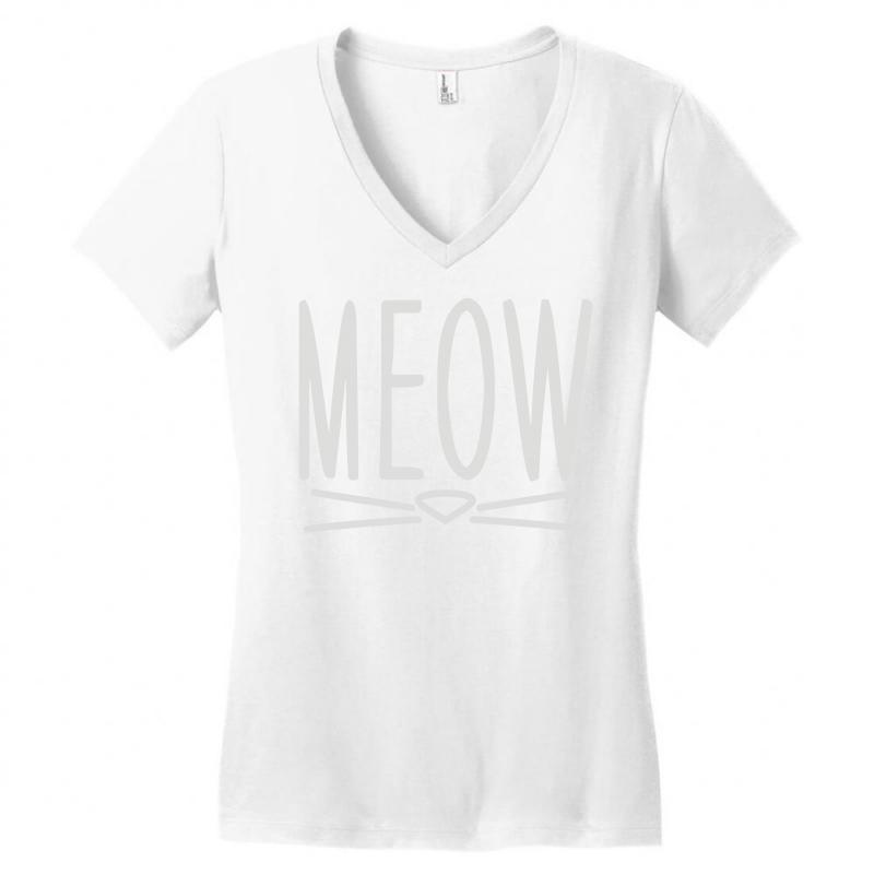 Meow Cute Cat Face Women S V Neck T Shirt By Artistshot