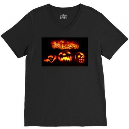 Halloween V-neck Tee Designed By Riyan28