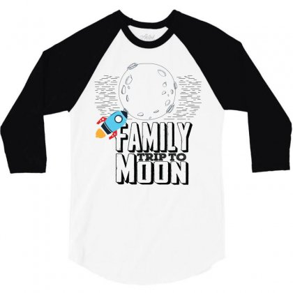 Family Trip To Moon 3/4 Sleeve Shirt Designed By Sabriacar