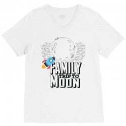 Family Trip To Moon V-Neck Tee | Artistshot