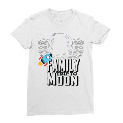 Family Trip To Moon Ladies Fitted T-shirt Designed By Sabriacar