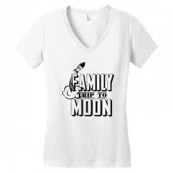 Family Trip To Moon Women's V-Neck T-Shirt   Artistshot