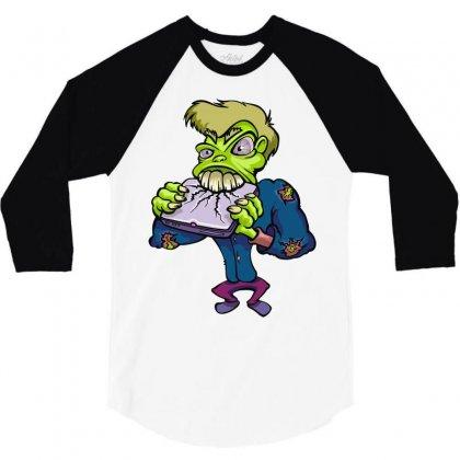 Monster Cartoon Character 14 3/4 Sleeve Shirt Designed By Mdk Art