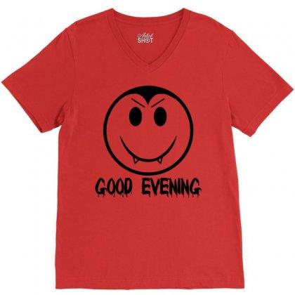 Good Evening Vampire Smiley V-neck Tee Designed By Sbm052017