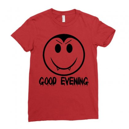 Good Evening Vampire Smiley Ladies Fitted T-shirt Designed By Sbm052017