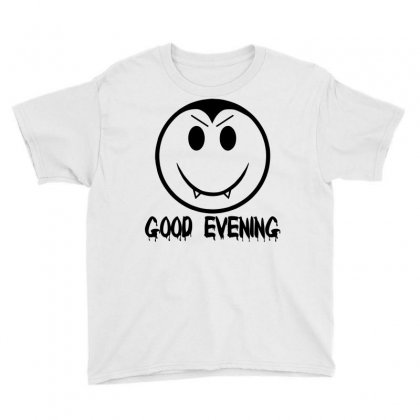 Good Evening Vampire Smiley Youth Tee Designed By Sbm052017