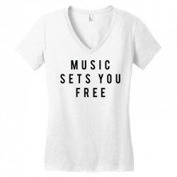 music sets you free Women's V-Neck T-Shirt | Artistshot