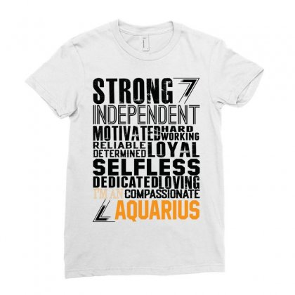 Strong Independent Motivated Aquarius Ladies Fitted T-shirt Designed By Designbysebastian