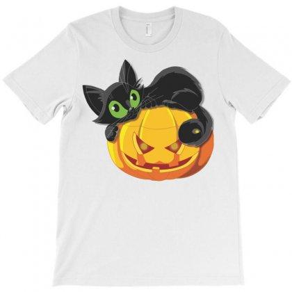 Halloween Pumpkin Cat T-shirt Designed By Sbm052017