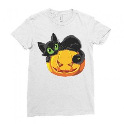 Halloween Pumpkin Cat Ladies Fitted T-shirt Designed By Sbm052017