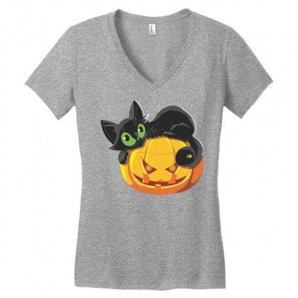 Halloween Pumpkin Cat Women's V-neck T-shirt Designed By Sbm052017