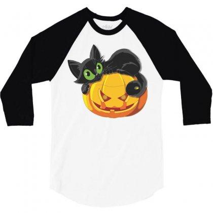 Halloween Pumpkin Cat 3/4 Sleeve Shirt Designed By Sbm052017