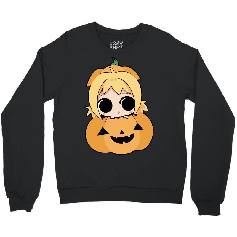 768de9b42698 Custom Cute Girl In Pumpkin Crewneck Sweatshirt By Sbm052017 ...