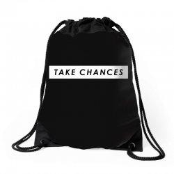 COLBY BROCK TAKE CHANCES Drawstring Bags | Artistshot