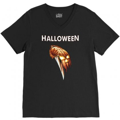 Halloween Classic V-neck Tee Designed By Mdk Art