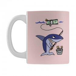 funny shark fishing for humans Mug | Artistshot