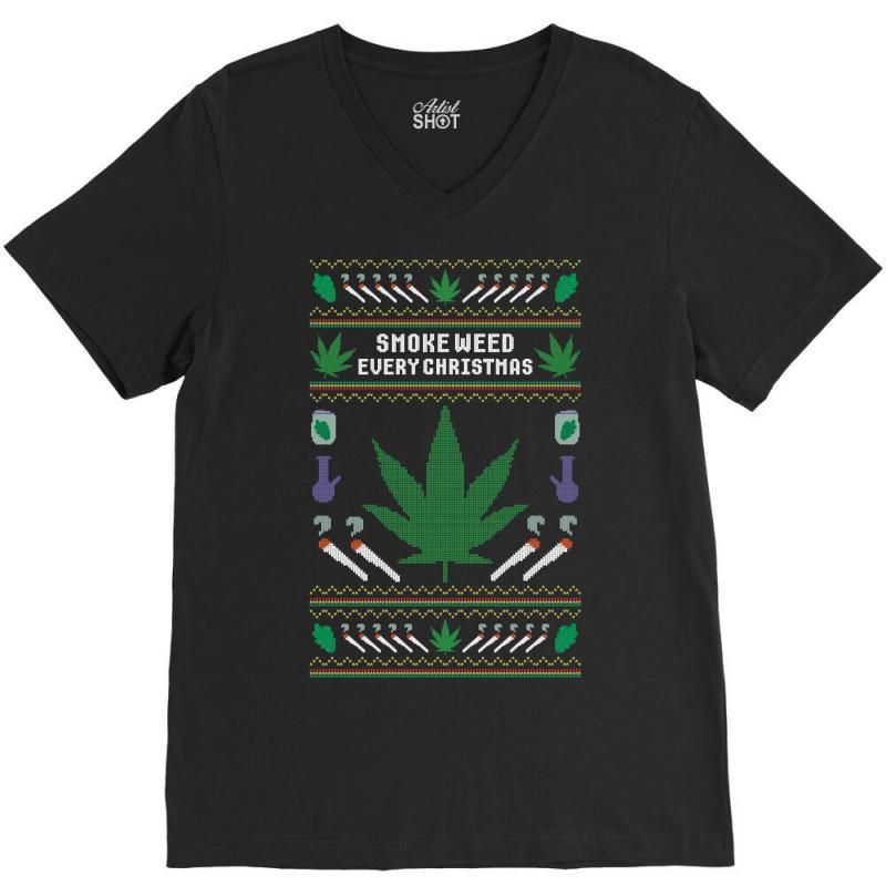 Smoke Weed Ugly Sweater V-neck Tee | Artistshot