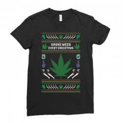 smoke weed ugly sweater Ladies Fitted T-Shirt | Artistshot
