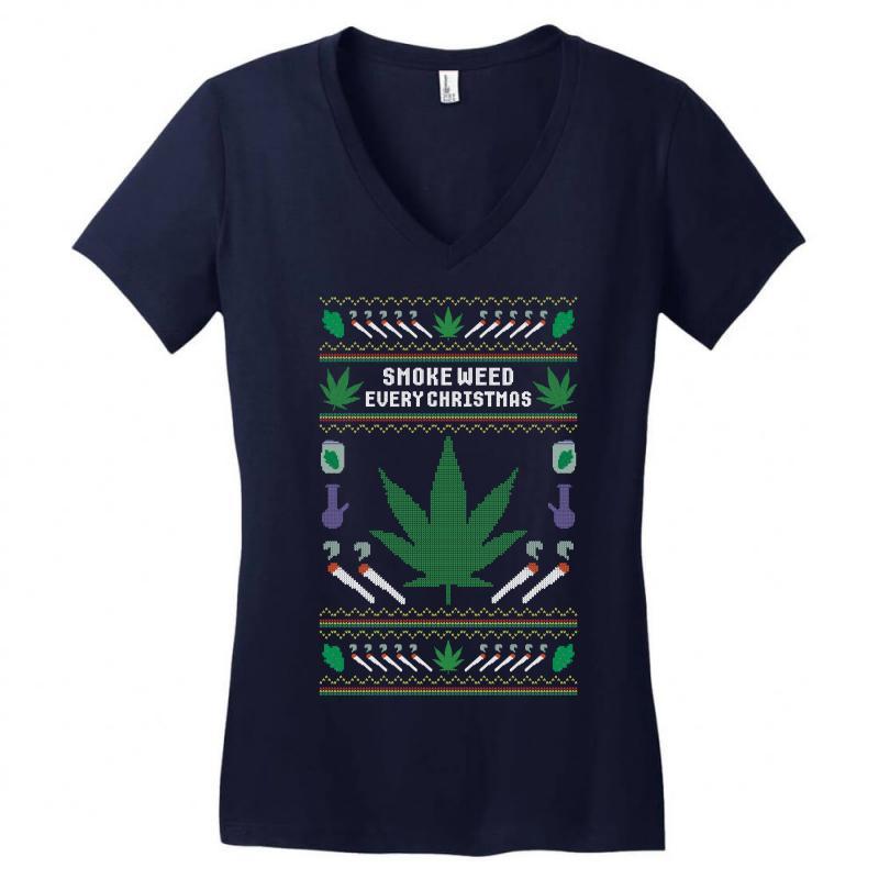 Smoke Weed Ugly Sweater Women's V-neck T-shirt   Artistshot