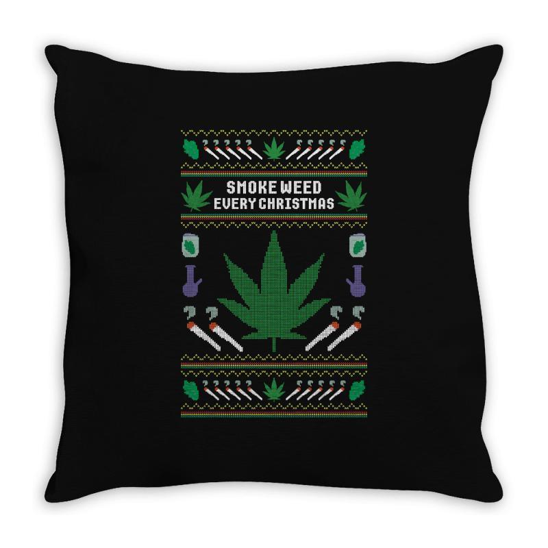 Smoke Weed Ugly Sweater Throw Pillow | Artistshot