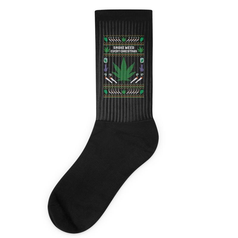 Smoke Weed Ugly Sweater Socks | Artistshot