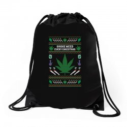 smoke weed ugly sweater Drawstring Bags | Artistshot