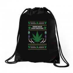smoke weed ugly sweater Drawstring Bags | Artistshot
