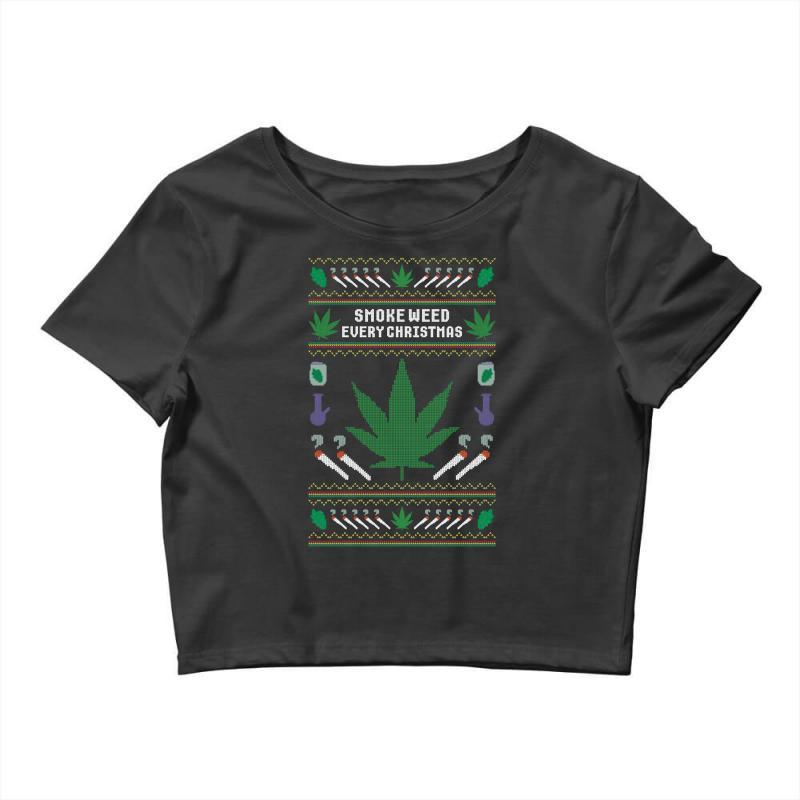 Smoke Weed Ugly Sweater Crop Top | Artistshot