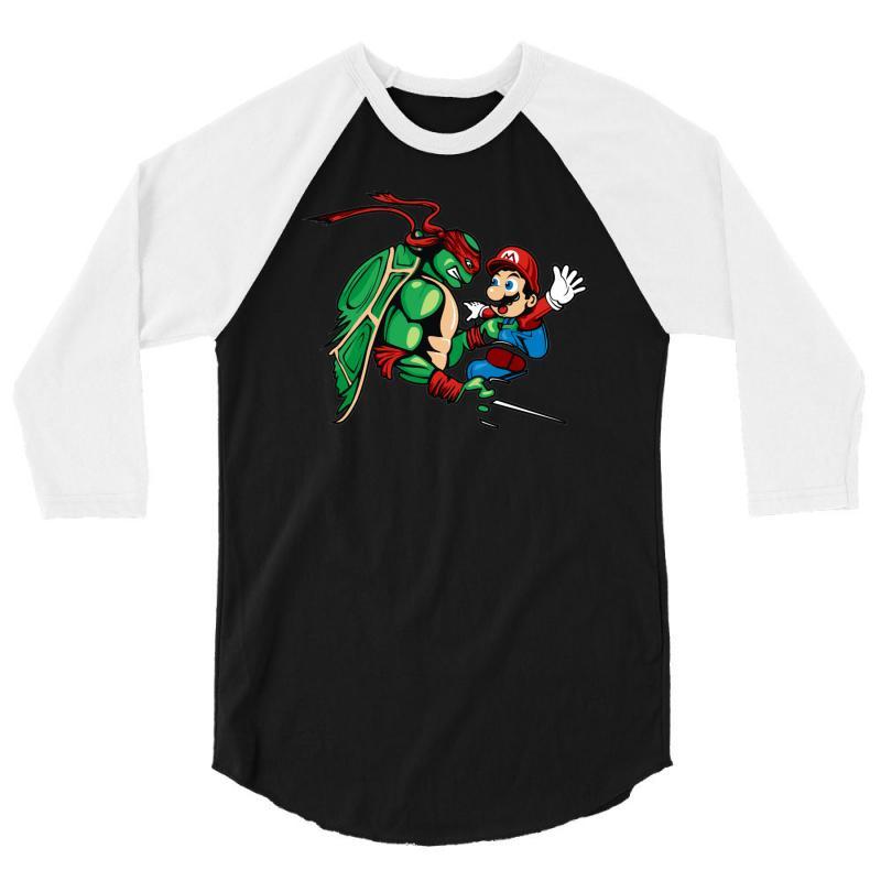612b57e0f Custom Raphael Meets Mario 3 4 Sleeve Shirt By Denz - Artistshot