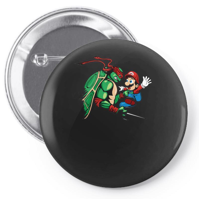 56466c08e Custom Raphael Meets Mario Pin-back Button By Denz - Artistshot