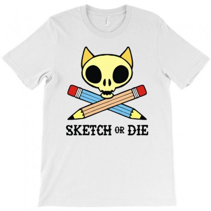 Sketch Or Die Skull Cat T-shirt Designed By Denz