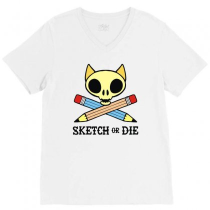 Sketch Or Die Skull Cat V-neck Tee Designed By Denz